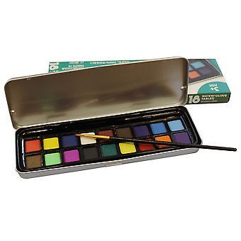 Watercolour Paint Tin Set of 18 Tablets & Brush