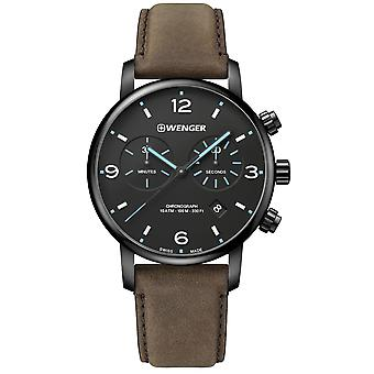 Wenger Metropolitan Chronograph Black Dial Brown Leather Strap Men's Watch 01.1743.112