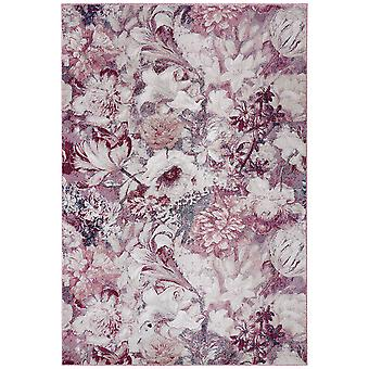 Supersoft floral shortflor rug Flower Symphony raspberry red cream