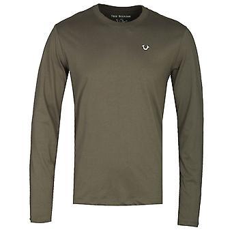 True Religion Long Sleeve Buddha Khaki Print T-Shirt
