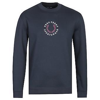 Fred Perry bordado Logo Navy Sweatshirt