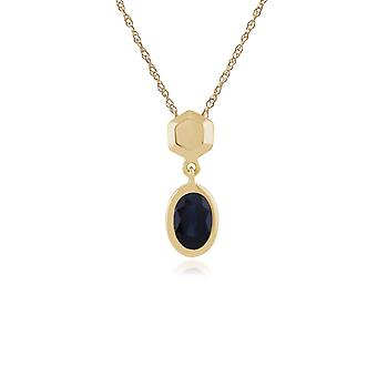 Classic Oval Sapphire Bezel Set Drop Pendant Necklace in 9ct Yellow Gold 135P1591029