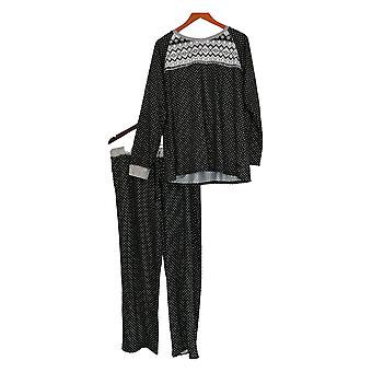 Cuddl Duds Set Panjama Top w/ Relaxed Fit Bottoms Negro A368476