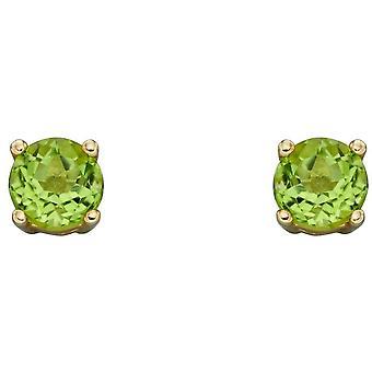 Elements Gold August Birthstone Stud Earrings - Green/Gold