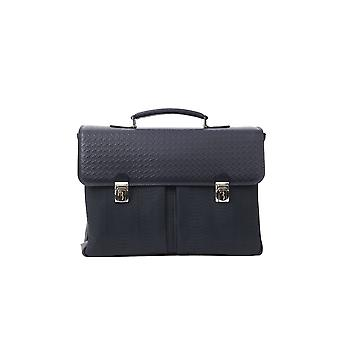 Billionaire Italian Couture Blue Double Buckle Navy Briefcase