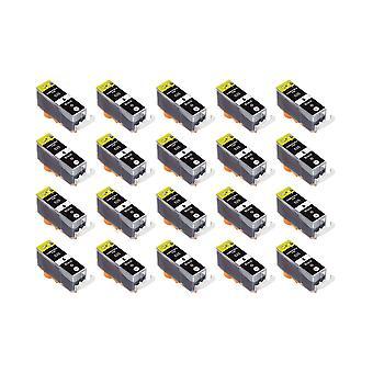 RudyTwos 20 x reemplazo para Canon PGI-525PGBK tinta unidad negro Compatible con Pixma iX6500, iX6550, MX715, MX882, MX885, MX895, iP4800, iP4850, iP4900, iP4950, iP6500, iP6550, MG5100, MG5120, MG5150,