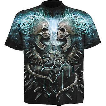 Spiraal-vlamende wervelkolom-wikkel rond korte mouwen t-shirt.