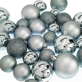 30 Blue Stone Assorted Shatterproof Christmas Tree Bauble Decorations