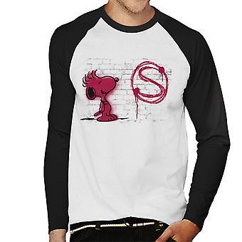 Peanuts Snoopy Red S Graffiti Men's Baseball Long Sleeved T-Shirt