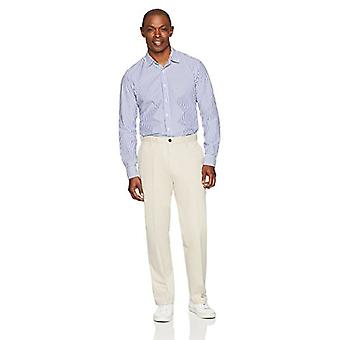 Essentials Men's Classic-Fit Wrinkle-Resistant Flat-Front Chino Pant, Stone, 35W x 32L
