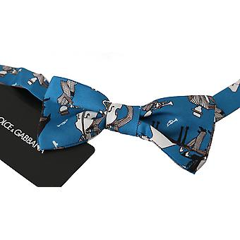 Dolce & Gabbana Blue Jazz Club Silk Adjustable Neck Papillon Men Bow Tie -- BGFT906160