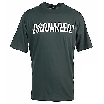 Dsquared2 قص الشعار كبير الحجم أسود تي شيرت