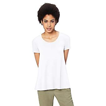 Brand - Daily Ritual Women's Jersey Short-Sleeve Scoop Neck Swing T-Shirt, White, X-Small