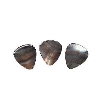 3PCS Natural Black Shell Guitar Bass Picks pour Guitares Électriques