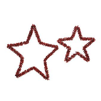 32cm & 38cm Red Tinsel Star Hoop for Christmas Home Decoration