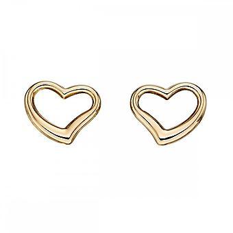 بدايات الجنيه الاسترليني الفضي 9CT الذهب الأصفر فتح القلب أقراط GE2214