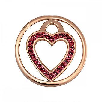 Nikki Lissoni Coração Vermelho Pequena moeda banhada a ouro C1039GS05
