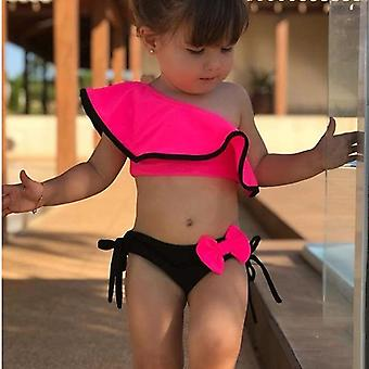 Loozykit 2pcs Kids Baby Off-shoulder Bow Bikini Set- Swimwear Swimsuit Bathing