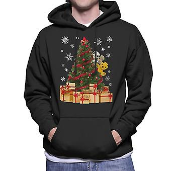 Roetveegpies gluren rond Xmas Tree Men's Hooded Sweatshirt