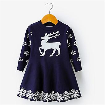 Long Sleeve Deer Snowflake Print Dress Costume For Kids Girl