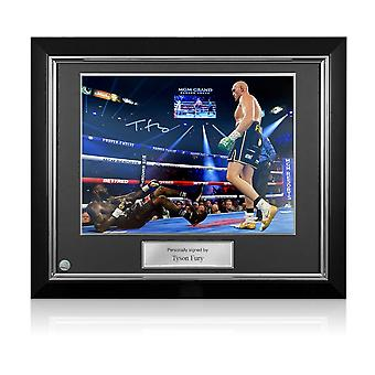 Tyson Fury Signed Boxing Photo: Deontay Wilder Knockdown. Deluxe Framed