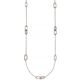 Fiorelli Zilver Interlinking Station Cubic Zirconia Rose Gold ketting N4348C