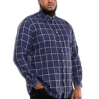 Duke D555 Mans Big Tall King Size Townsville Checked Cotton Shirt - Navy Check