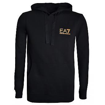 EA7 Men's Black Hooded Sweatshirt With Gold Logo