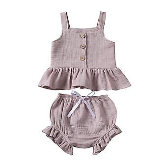 Nouveau-né Baby Girls Bouton Sleeveless Tank Tok + Mini Shorts Outfits
