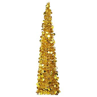 vidaXL Artificial Pop-Up árbol de Navidad oro 150 cm PET