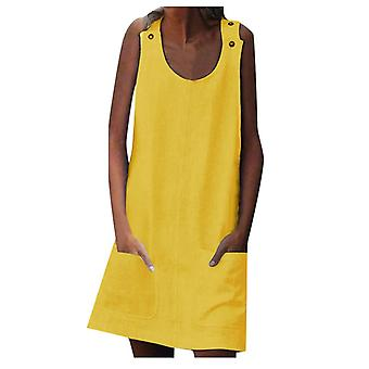 Vest Mini Dresseses Women, Shift Daily, Casual Button, Plain  Pocket