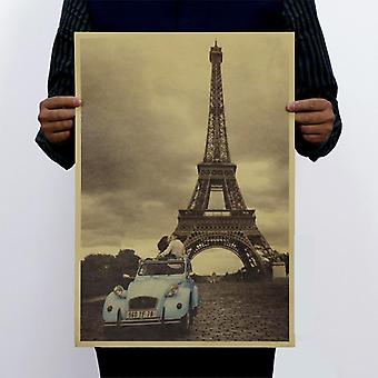 Paris Eiffel Tower ja auto Vintage Kraft Paper Classic Juliste