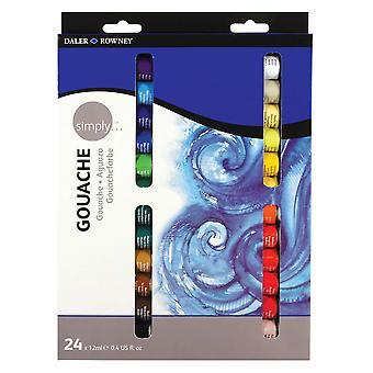 Daler rowney 12ml helt enkelt gouache set (förpackning med 24) förpackning med 24