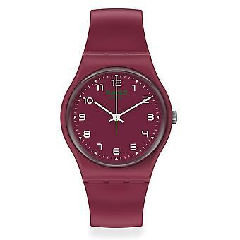 Swatch SO28R103 WAKIT Burgundy Silicone Watch