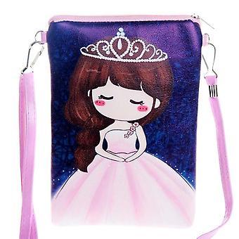 Lady Zipper Pu Leather Cartoon Printing Women Party Mini Messenger Chest Bag