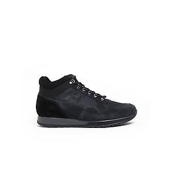 Hogan Hxm3210dc80oen743f Mænd's Blue Fabric Hi Top Sneakers