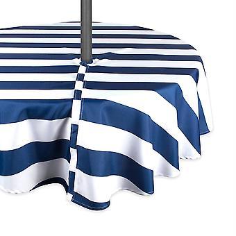 Tovaglia da esterno Dii Nautical Blue Cabana Stripe con cerniera 60 round