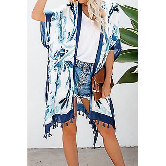 Bohémska tlač Strapec Loose Beach Zakryť Kimono