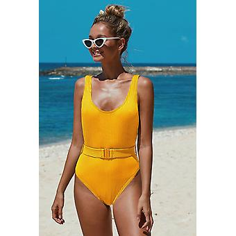 Ribbed Backless One-piece Swimsuit With Belt