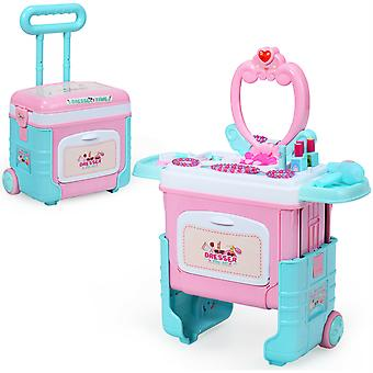 2 in 1 KIds Pretend Makeup Set Toddlers Princess Dressing Table Trolley Case