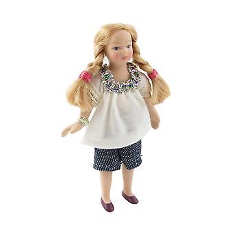 Dolls House Modern Girl In Summer Top & Shorts Little Sister Porselein Mensen