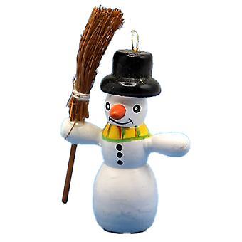 Nukketalon lumimies luudan kanssa 1:12 Joulu puutarha Lisävaruste Lumiukko