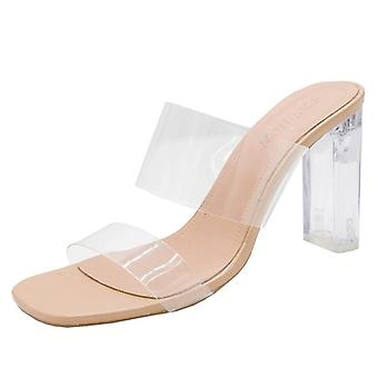 Women Square Toe Sandals Summer Clear High Pumps Wedding Slippers