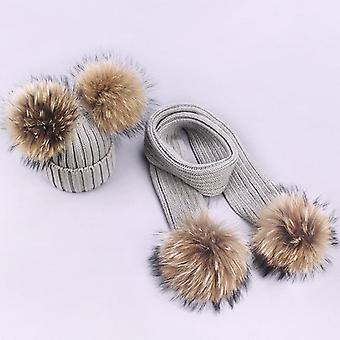 Mädchen Pompon Hüte und Schals Sets, Winter gestrickt warme Natur Pelz Hut, Schal