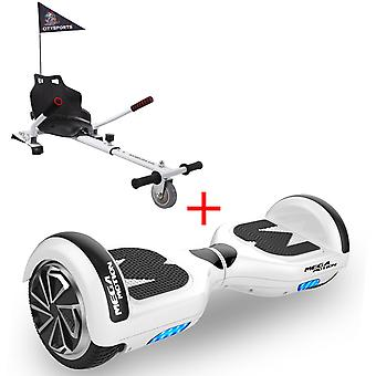 MM6 Hoverboard Self Balanced Electric Scooter LED with kart-white