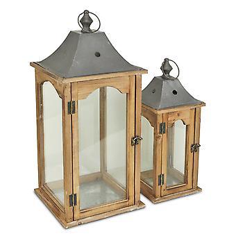 Sæt med 2 Brown Wood færdig Frame Glas og Metal Top Lanterner