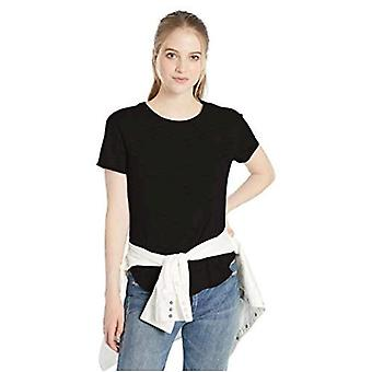 Brand - Daily Ritual Women's Lived-in Cotton Roll-Sleeve Crewneck T-Shirt, Black, Medium