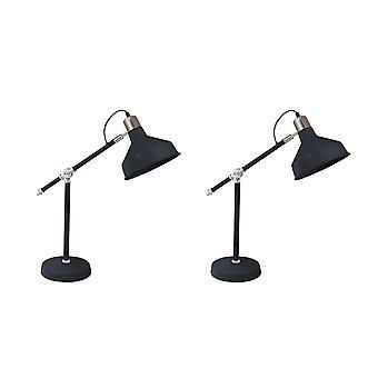 Lampes de tâche en métal avec l'ombre de forme de dôme et la base circulaire, ensemble de 2, noir