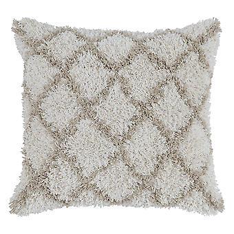Almohada de lanzamiento de tela texturizada con patrón de diamante Shag, crema y marrón