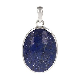 ADEN 925 Sterling Silver Lapis Lazuli Oval Shape Pendant Necklace (id 3940)